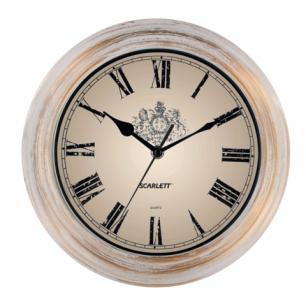 Часы настен. SCARLETT SC-27B круглые, белые, белый с золот рамка, плавный ход, 28x28x4 см