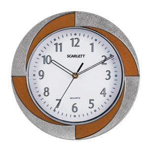 Часы настен. SCARLETT SC-55RA круг, белые, бело-коричн.рамка, плавный ход, 28.0х28.0х4.4 см
