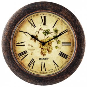 Часы настен. SCARLETT SC-WC1002K круглые, с рисунком, коричневая рамка, плавный ход 28,5х28,5х4см