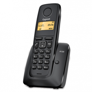 Радиотелефон GIGASET A120, пам 40ном, АОН, повтор, часы, (радиус 10-100 м), цв.черный