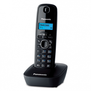Радиотелефон PANASONIC KX-TG1611RUH, пам 50ном АОН повтор, часы /будильник (радиус 10-100м), цв.серый
