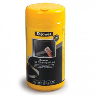 Чистящие салфетки FELLOWES в тубе 100шт влажные для экранов мониторов и оптич. поверх. FS-99703