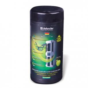 Чистящие салфетки DEFENDER CLN30333, влажные с запахом яблока, для пластика, в тубе, 100шт