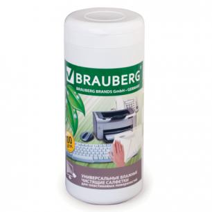 Чистящие салфетки BRAUBERG для пластика, влажные, в тубе 100 шт, 510123