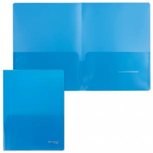 Папка-уголок 2 кармана BRAUBERG, синяя, 0,18мм, 224883