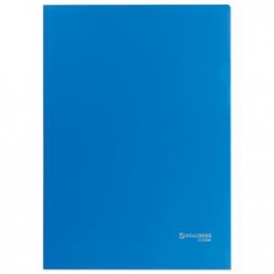 Папка-уголок жесткая, непрозрачная BRAUBERG, синяя, 0,15мм, 224880
