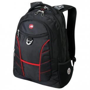Рюкзак WENGER (Швейцария), черный, красные полосы, 35*20*47 см, 30 л, 78215