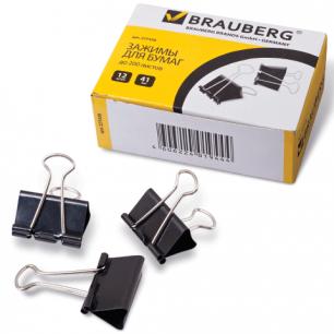 Зажимы для бумаг BRAUBERG, КОМПЛЕКТ 12шт., 41мм, на 200л, черные, в карт.коробке, 221538