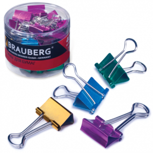 Зажимы для бумаг BRAUBERG, КОМПЛЕКТ 40шт., 19мм, на 60л., цвет. металлик, пласт. цилиндр, 223504