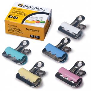 Зажимы-бульдоги для бумаг BRAUBERG, КОМПЛЕКТ 10шт., 32мм, на 140л., картонная коробка, 223513