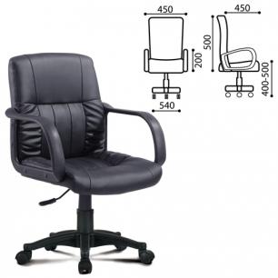 Кресло оператора BRABIX Hit MG-300, с подлокотниками, экокожа, черное, 530864