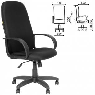 Кресло офисное СН 279, высокая спинка, с подлокотниками, черное JP-15-2, ш/к47042