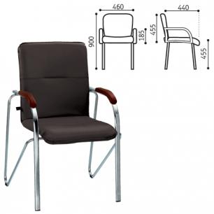 """Кресло для приемных и переговорных """"Samba"""" (дерево 1.031), хром.каркас, кожзам черный V-14"""