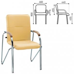 """Кресло для приемных и переговорных """"Samba"""" (дерево 1.010), хром.каркас, кожзам песоч. V-17"""