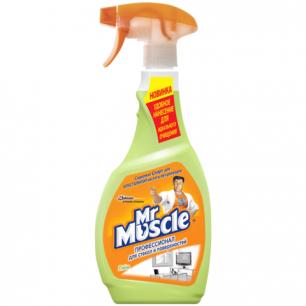 """Средство для мытья стекол и поверх. (кафель, сантехн, пластик)  МИСТЕР МУСКУЛ 500мл, """"Лайм"""", распылитель"""