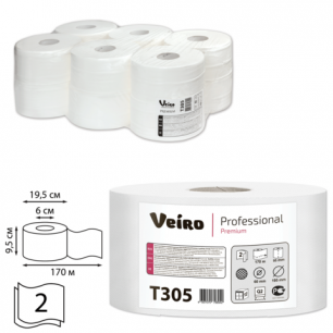 Бумага туалетная 170м, VEIRO (Q2), КОМПЛЕКТ 12шт, Premium, 2-сл, (диспенсер 600164,601543)  T305