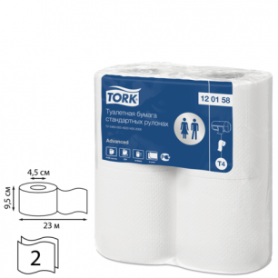 Бумага туалетная TORK (Система Т4), 2-х сл., спайка 4шт.х23м, Advanced, (диспенсер 601826), 120158
