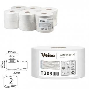 Бумага туалетная 200м, VEIRO (Q2), КОМПЛЕКТ 12шт, Comfort, 2-сл, (дисп.600164,601663,-664,-544)  T203