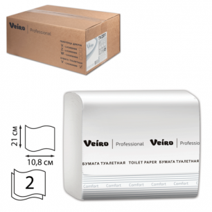 Бумага туалетная VEIRO (L1), КОМПЛЕКТ 30шт, Comfort, лист., 250л, 21х10,8, 2-сл (дисп. 600292)  TV201