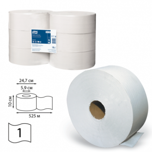 Бумага туалетная 525м, TORK (Система Т1), КОМПЛЕКТ 6шт, Universal, (диспенсер 600286), 120195