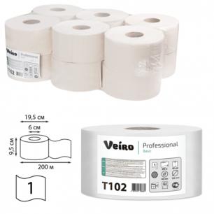 Бумага туалетная 200м, VEIRO (Q2), КОМПЛЕКТ 12шт, Basic, (диспенсер 600164)  T102