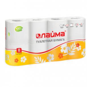 Бумага туалетная ЛАЙМА, 2-х слойная, спайка 8шт.х19м, белая, 126905