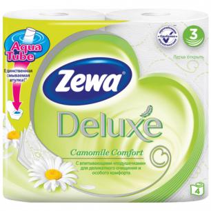 Бумага туалетная ZEWA Delux, 3-х слойная, спайка 4шт.х20,7м, аромат ромашки, 3275, ш/к 60133