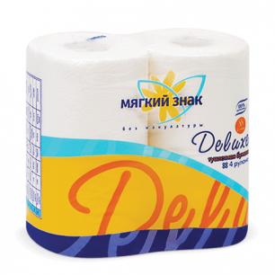 Бумага туалетная МЯГКИЙ ЗНАК Deluxe, 2-х слойная, спайка 4шт.х22м, белая, С41, ш/к 30299
