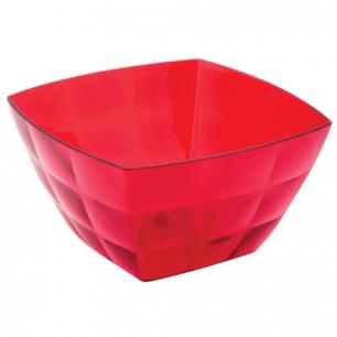 """Миска-салатник 2л IDEA, """"Кристал Квадро"""", (в12*ш19*г19см), цвет красный, прозрачный, М 1356"""