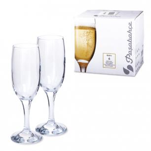 """Набор фужеров для шампанского PASABAHCE """"Bistro"""", 6 шт., 190 мл, стекло, 44419"""