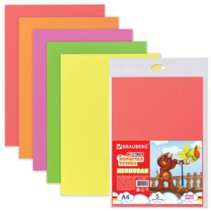Цветная пористая резина (пенка в листах)  д/творч.А4 210*297мм BRAUBERG 5л. 5цв, неоновая, 660076