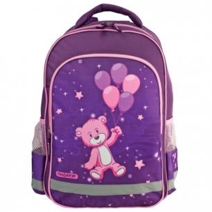 Рюкзак ПИФАГОР для нач.школы, дев., розов/фиолетовый, Медвежонок на шарике, 38*28*14 см, 225297