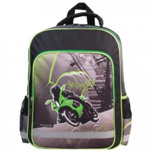 Рюкзак ПИФАГОР для нач.школы, мальч., черн/серый, Мотоциклист, 38*30*14 см, 225303