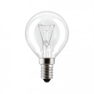Лампа накаливания PHILIPS P45 CL E14, 60Вт, шарообразн., прозр., колба d=45мм, цоколь d=14мм, 066992