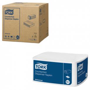 Салфетки TORK (N1)  Counterfold, КОМПЛЕКТ 16шт., 33х30, 250шт., белые, (диспенсер 603005), 10905
