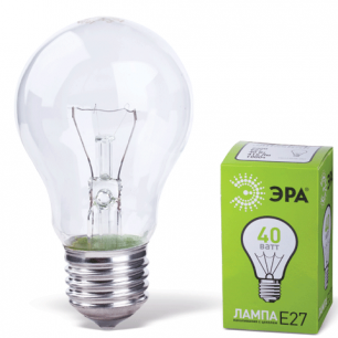 Лампа накаливания ЭРА 40Вт, грушевидная, прозрачная, колба d=60мм, цоколь Е27, А55-40-230-E27-CL