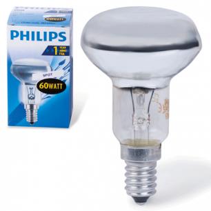 Лампа накаливания PHILIPS Spot R50 E14 30D, 60Вт, зерк., колба d=50мм, цоколь d=14мм, угол 30°, 382429
