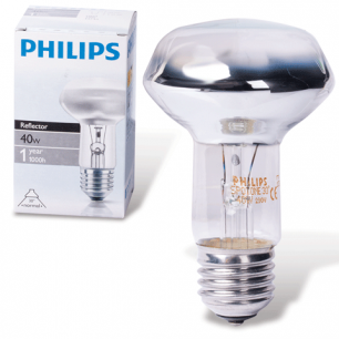 Лампа накаливания PHILIPS Spot R63 E27 30D, 40Вт, зерк., колба d=63мм, цоколь d=27мм, угол 30°, 043603