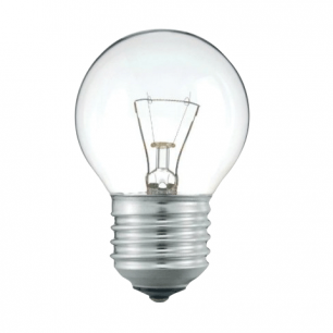 Лампа накаливания PHILIPS P45 CL E27, 60Вт, шарообразн., прозр., колба d=45мм, цоколь d=27мм, 067029