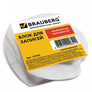 Блок для записей BRAUBERG проклеенный, спираль 8*8*4, белая, 121542