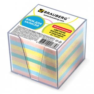 Блок для записей BRAUBERG в подставке прозрачной, куб 9*9*9, цветной, 122225