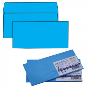 Конверты С65, КОМПЛЕКТ 5шт., отрывная полоса STRIP, голубые, упак. с европодвесом, 114х229мм