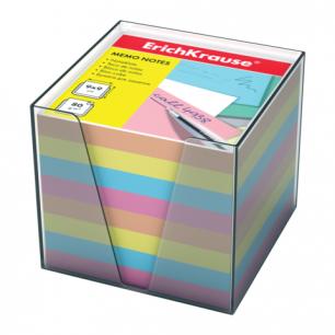 Блок для записей ERICH KRAUSE в подставке прозрачной, куб 9*9*9, цветной, 5142