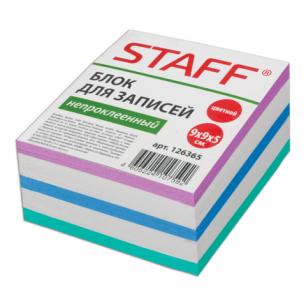 Блок для записей STAFF непроклеенный, куб 9*9*5, цветной, 126365