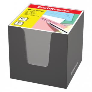 Блок для записей ERICH KRAUSE в подставке картонной серой, куб 8*8*8, белый, 36985