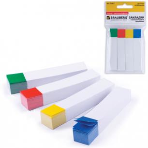 Закладки самоклеящ. BRAUBERG бумажные, 75*14мм, 4цв.*100л., белые с цветн.краем, европодвес, 124811