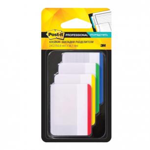 Закладки самоклеящиеся POST-IT Professional, пластик, 50 мм, 4 цвета*6 шт., суперклейкие, 686-F1-RU