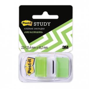 Закладки самоклеящиеся POST-IT Study, пластиковые, 25 мм, 22 шт., зеленые, 680-BG-LRU