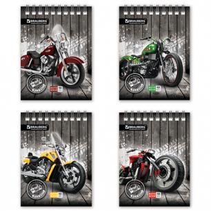 Блокнот BRAUBERG А6 108*145мм, 48л. гребень, обложка мел. картон, клетка, мотоциклы (4вида), 125696