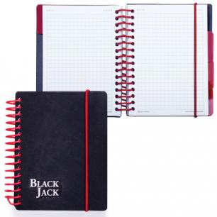 "Блокнот BRAUBERG A6 105x148мм, 150л. ""Black Jack"" греб.сбоку, обл.пласт на резинке, 4 разд, кл. 125388"